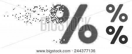 Dispersed percent pixel icon with disintegration effect. Halftone dotted and intact solid grey variants. Dots have rectangle shape. Pieces are combined into dissolving percent shape. poster
