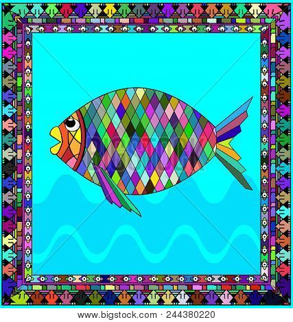 Abstract Colored Background Image Of Fish Consisting Of Lines And Figures