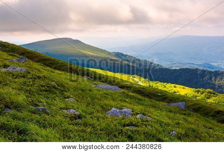 Grassy Slopes Of Runa Mountain In The Morning. Beautiful Summer Landscape Of Carpathian Mountains