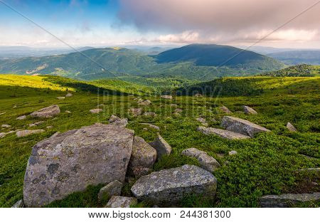 Grassy Hillside With Boulders In Summer. Forested Mountain In The Distance. Beautiful Landscape In T
