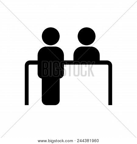 Customer Service Desk Icon In Flat Style. Reception Symbol Isolated On White Background. Simple Abst