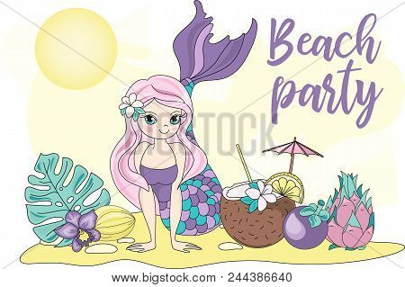 Sea Ocean Tropical Summer Vector Colorful Illustration Beach Party Art Projects, Prints, T-shirts, P
