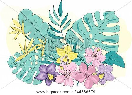 Sea Ocean Tropical Summer Vector Colorful Illustration Tropic Flowers Art Projects, Prints, T-shirts