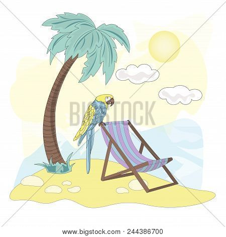 Sea Ocean Tropical Summer Vector Colorful Illustration Beach Art Projects, Prints, T-shirts, Posters