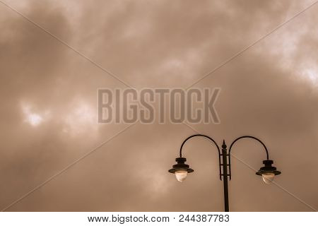 Picture Of A Street Lamp During Sunset, Penzance, Cornwall, Uk