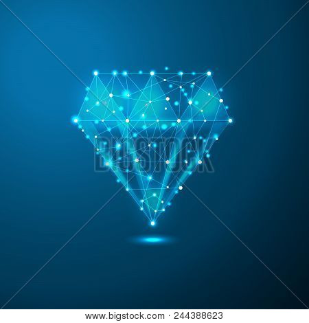 Diamond Low Poly In The Form Of A Starry Sky Or Space, Consisting Of Points, Lines, And Shapes In Th