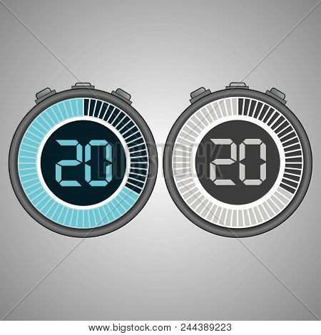 Electronic Digital Stopwatch. Timer 20 Seconds Isolated On Gray Background. Stopwatch Icon Set. Time