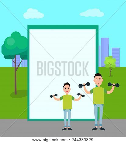 Father And Son Train With Dumbbells Vector Isolated Frame For Text City Pak On Backdrop. Dad And Boy