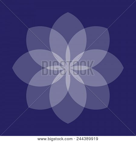 Blue Abstract Geometric Flower. Vector Symbolic Ornament.