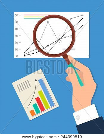 Searching Process Analytics Vector Illustration Isolated On Blue, Businessman Looking On Statistic D