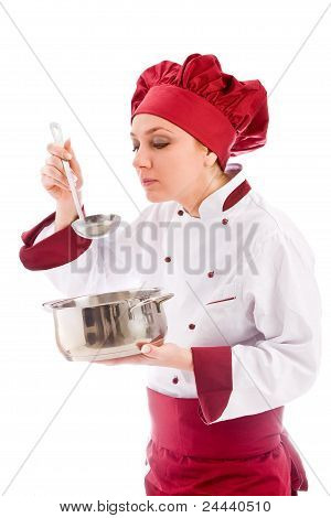 Chef Tasting Her Food