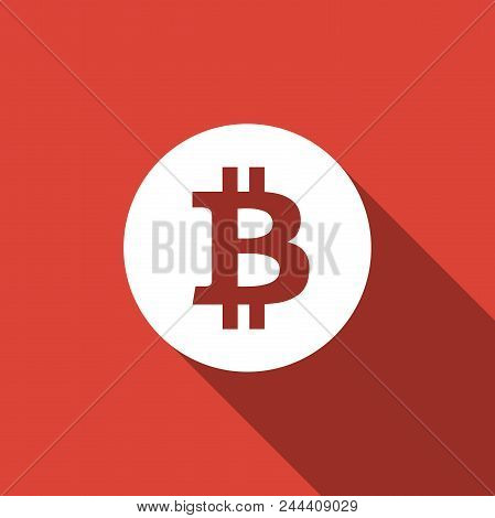 Cryptocurrency Coin Bitcoin Icon Isolated With Long Shadow. Bitcoin For Internet Money. Physical Bit