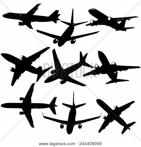 Set Of Silhouettes Of Planes From Different Eras On A White Background.
