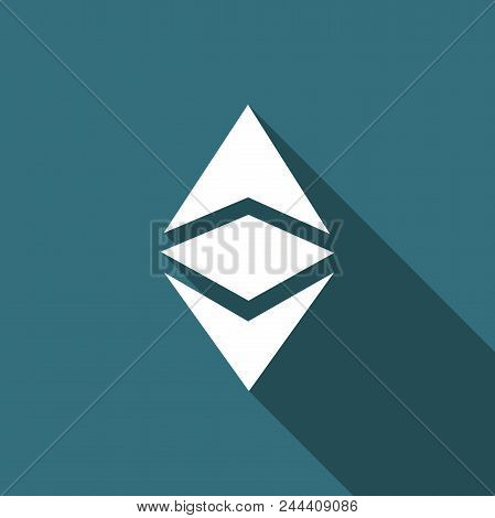 Cryptocurrency Coin Ethereum Classic Etc Icon Isolated With Long Shadow. Physical Bit Coin. Digital