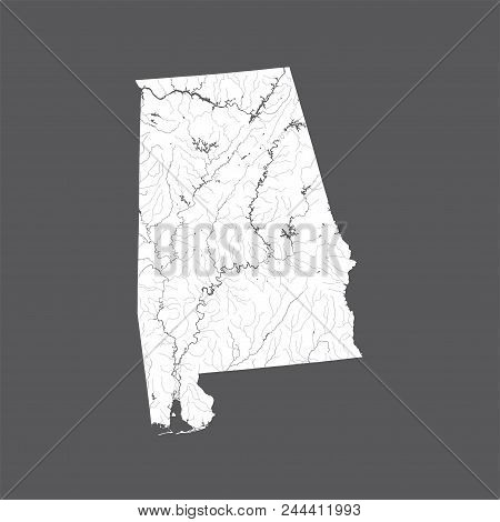 U.s. States - Map Of Alabama. Hand Made. Rivers And Lakes Are Shown. Please Look At My Other Images