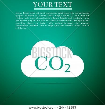 CO2 emissions in cloud icon isolated on grey background. Carbon dioxide formula symbol, smog pollution concept, environment concept, combustion products sign. Flat design. Vector Illustration poster