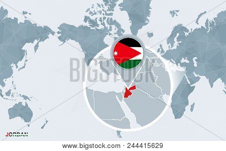 World Map Centered On America With Magnified Jordan. Blue Flag And Map Of Jordan. Abstract Vector Il
