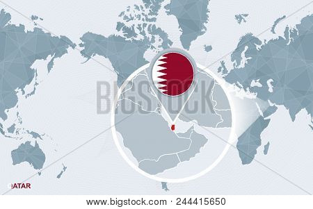 World Map Centered On Qatar With Magnified Chile. Blue Flag And Map Of Qatar. Abstract Vector Illust