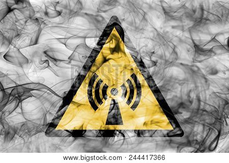 Non Ionising Electromagnetic Radiation Hazard Warning Smoke Sign. Triangular Warning Hazard Sign, Sm