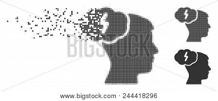 Gray Vector Brainstorm Icon In Fractured, Dotted Halftone And Undamaged Entire Versions. Rectangle D