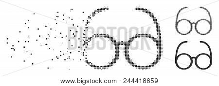 Grey Vector Spectacles Icon In Dispersed, Pixelated Halftone And Undamaged Solid Variants. Rectangle