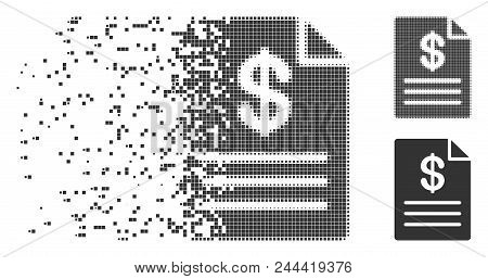 Dispersed Price List Pixel Icon With Disintegration Effect. Halftone Pixelated And Intact Solid Grey