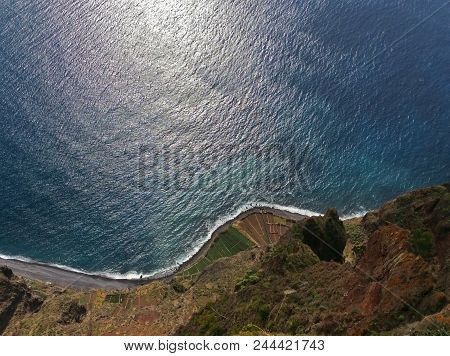 Cabo Girao 560 M Hight Cliff, View Straight Down From Viewpoint Located In Southern Coast Of The Isl