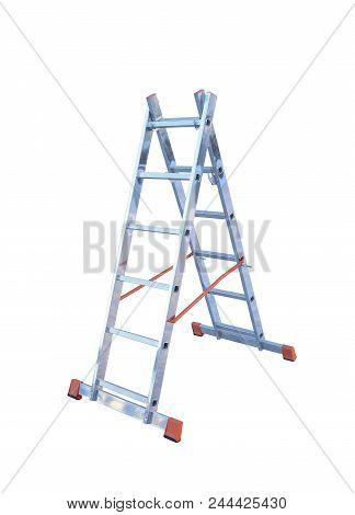 Aluminum Metal Step-ladder Isolated White Background Photo