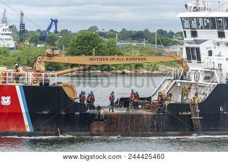 New Bedford, Massachusetts, Usa - June 6, 2018: U. S. Coast Guard Coastal Buoy Tender Ida Lewis (wlm