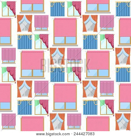 Window Curtains Room Blinds Seamless Pattern Background Jalousie For House Or Creative Home Interior
