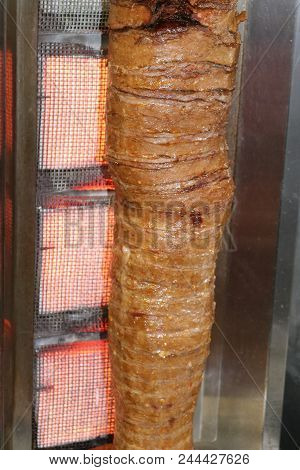 Turkish Doner Kebab. Shawarma Meat. Turkish Meat Doner. Traditional Roasted Meat.