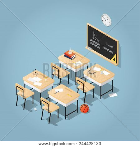 Detailed Vector Isometric Illustration Of  Classroom. School Desks With Books, Papers And Stationery
