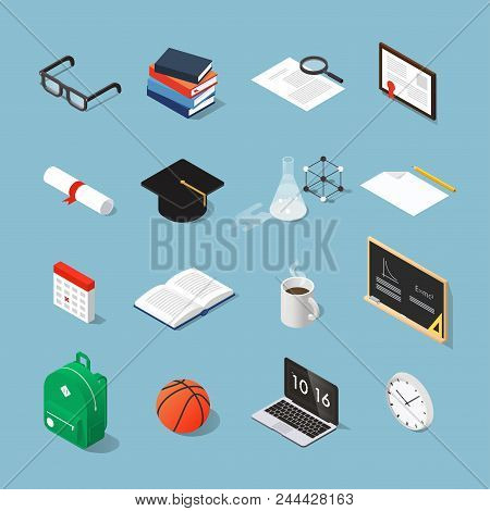Isometric College Student Vector Set: Graduation Cap, Laptop, Stack Of Books, Glasses, Piece Of Pape