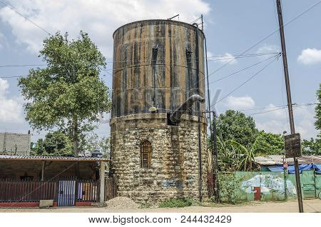 Oaxaca, Oaxaca, Mexico- June 1, 2018: Old Water Tank Used By Steam Trains At Ferrocarril Museum In O