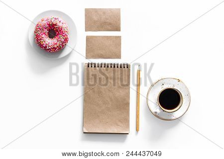 Mockup Business Brand Template. Blank Stationery Made Of Craft Paper For Branding Near Coffee And Do