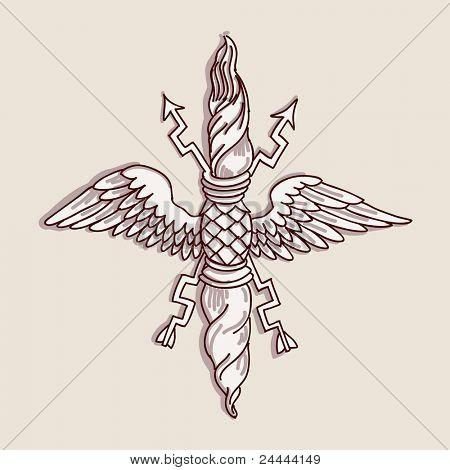 Vintage emblem - hand draw sketch, element doric architectural order. Bitmap copy my vector ID 84869053