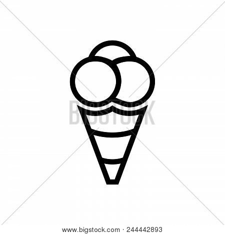 Ball Icecream Vector Icon On White Background. Ball Icecream Modern Icon For Graphic And Web Design.