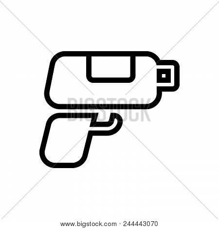 Gaming Pistol Vector Icon On White Background. Gaming Pistol Modern Icon For Graphic And Web Design.