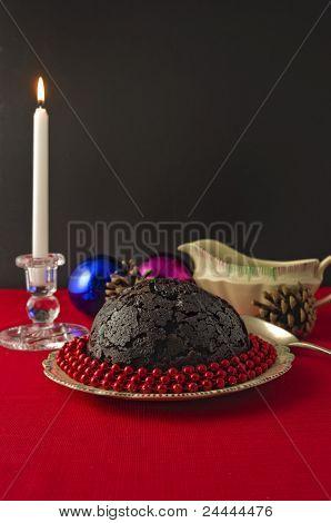 Christmas Pudding And Candle