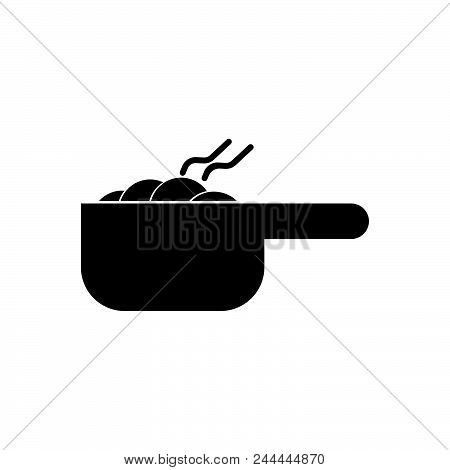 Pot With Meal Vector Icon On White Background. Pot With Meal Modern Icon For Graphic And Web Design.