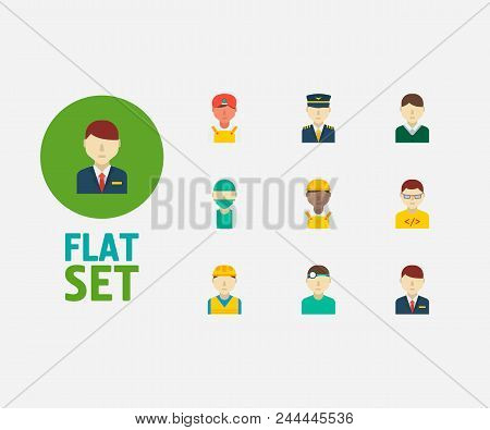 Professional Icons Set. Indian Worker And Professional Icons With Doctor, African Worker And Dentist