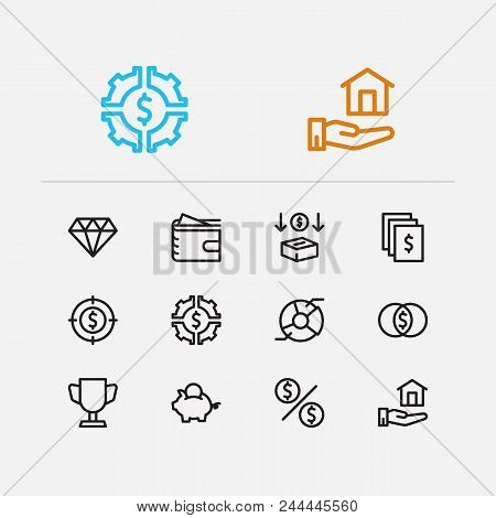 Economy Icons Set. Investment Target And Economy Icons With Investing Diversification, Investment Se