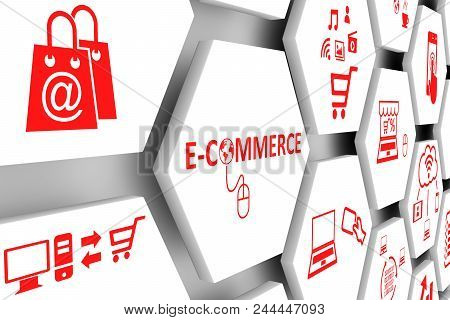 Ecommerce Concept Cell White Background 3d Illustration