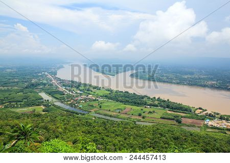 Mekong River View From Wat Pha Tak Sue Temple , Nong Khai, Thailand.