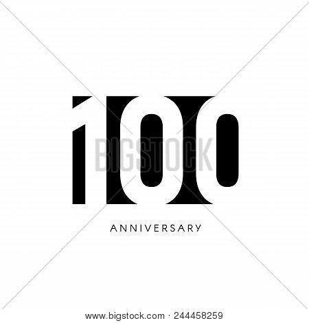 One Hundred Anniversary, Minimalistic Logo. One Hundredth Years, 100th Jubilee, Greeting Card. Birth