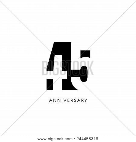 Forty Five Anniversary, Minimalistic Logo. Forty-fifth Years, 45th Jubilee, Greeting Card. Birthday