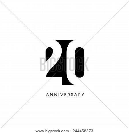Twenty Anniversary, Minimalistic Logo. Twentieth Years, 20th Jubilee, Greeting Card. Birthday Invita