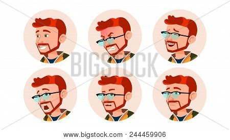 Man Avatar People Vector. Comic Emotions. Red Head, Ginger Flat Handsome Manager. Happy, Unhappy. La