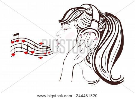 Valentine Day. Pretty Girl In Headphones, Vector Hand-drawn Illustration. Notes With Hearts, Copy Sp