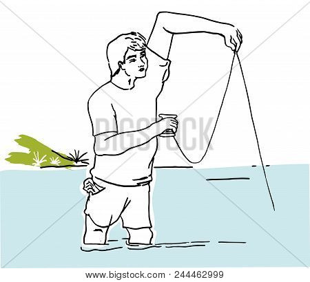 Fishing Hobby.  Man Enjojing With His Fishing Hobby. Fisherman In The Sea Illustration.